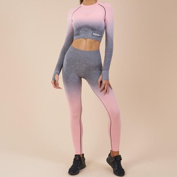 23f98bd3e4f27 Gymshark Pants | Ombre Seamless Leggings Peach Pinkcharcoal | Poshmark